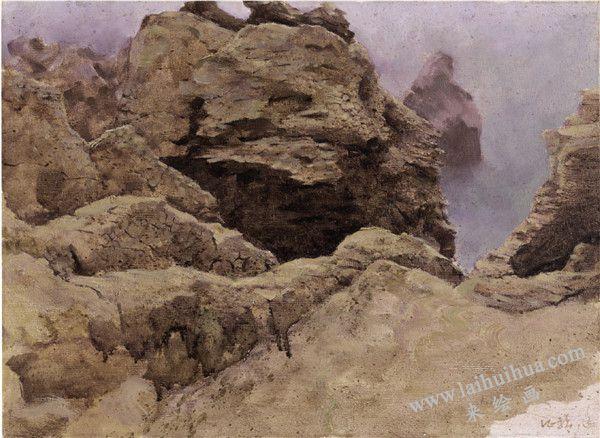 《礁石》之一 布面油画