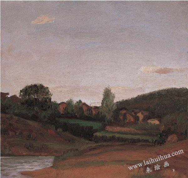静静的山村 布面油画