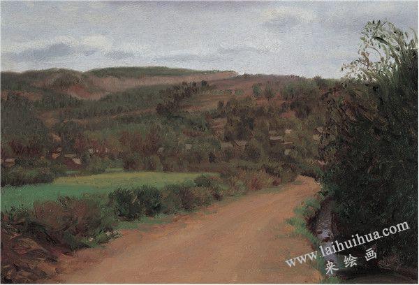 乡间路 布面油画