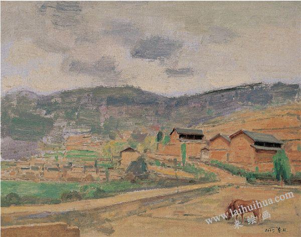 2005年山乡 布面油画