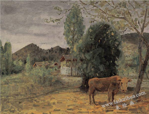 村口 布面油画