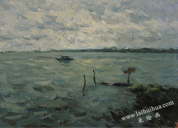 湖中的船,纸板油画