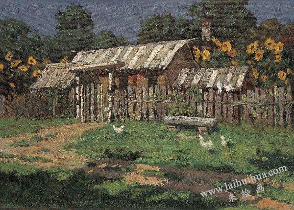 北国农舍,布面油画