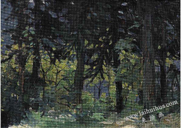 峨嵋山林,布面油画