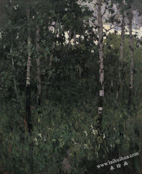 黑龙江畔,布面油画