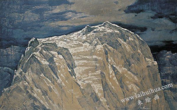 雪山长云 布面油画