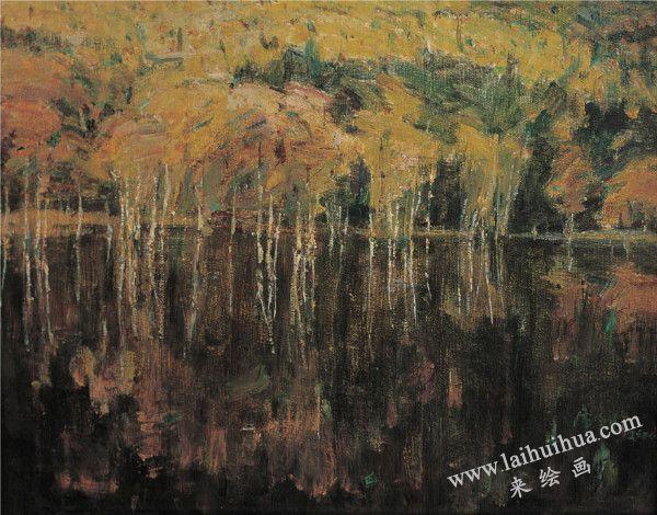 湖中林影 布面油画