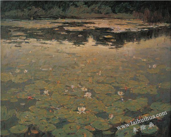 莲池 布面油画