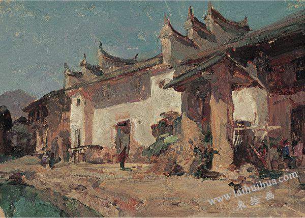 醴陵祠堂 纸上油画