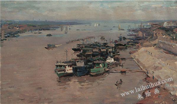 湘江 纸上油画