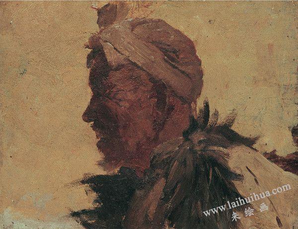 陕北老农 布面油画
