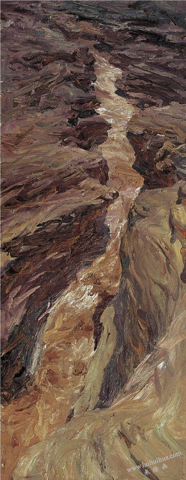 大禹开凿的古河槽 布面油画