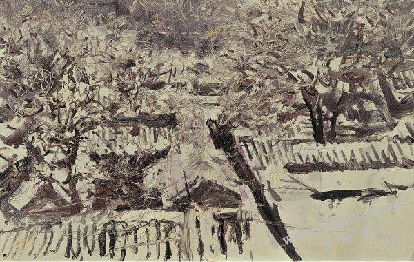 北京四合院大雪 布面油画