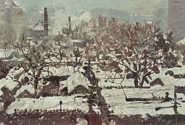 世纪之交的一场大雪 布面油画