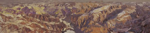 黄土高原之雪 布面油画