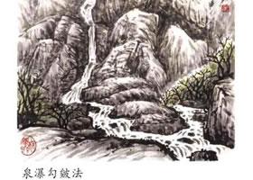 山水画泉瀑的勾皴画法