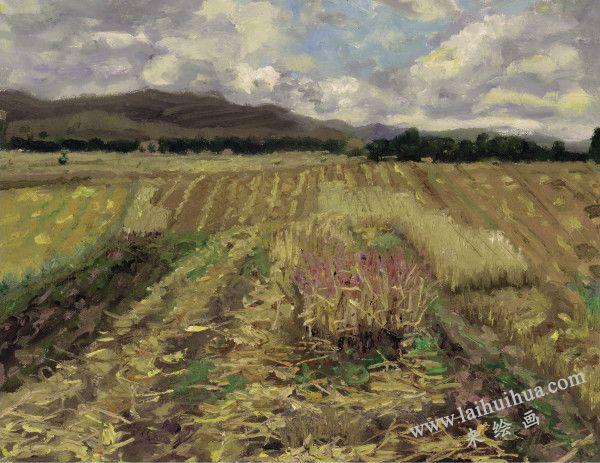 葫芦斯台的麦地 布面油画