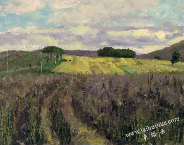 秋收后的麦地 布面油画