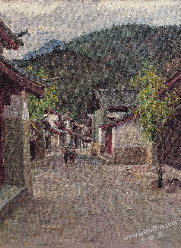 茶马道 布面油画