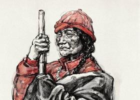 《藏族老人》素描画