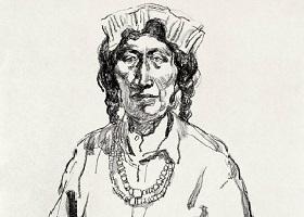 《藏族老阿妈》素描画