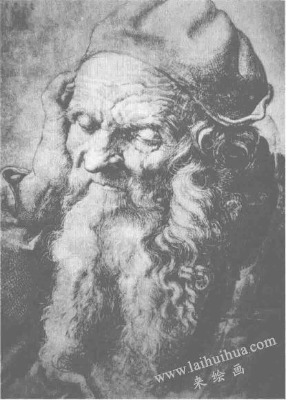 《九十三岁老人像》明暗素描