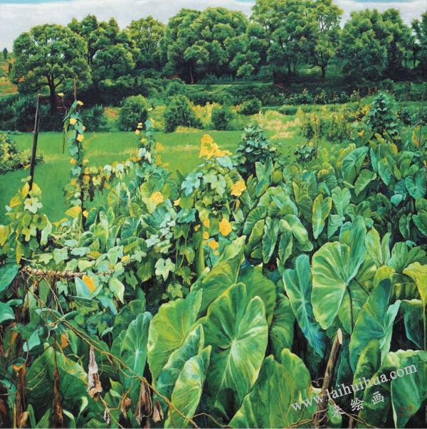 绿色统领的《家园》油画