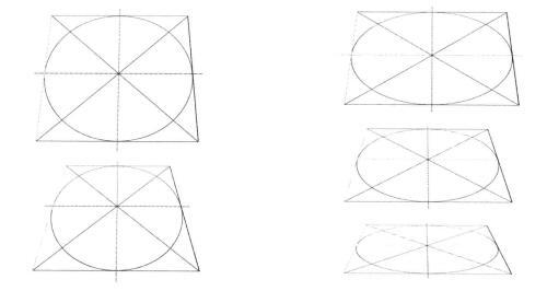 不同角度的圆,素描
