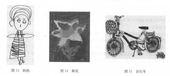 儿童绘画:妈妈、鲜花、自行车