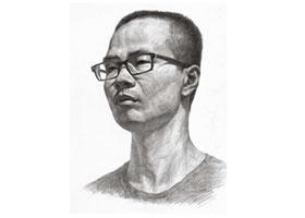 中年人头像素描画法