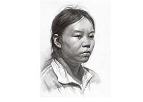 女青年头像素描画法