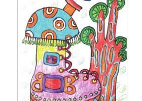 鞋子房屋儿童画