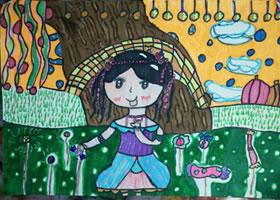 巧克力儿童水彩画
