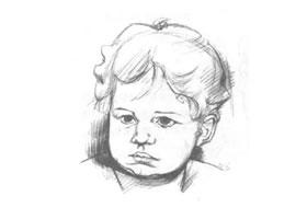 小女孩头部素描绘制实例