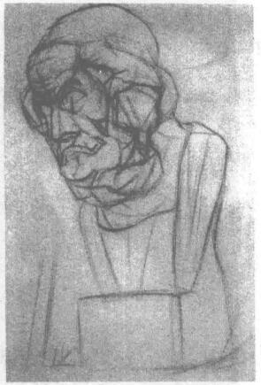 荷马石膏头像素描画法步骤02