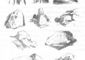 岩石写生素描画法