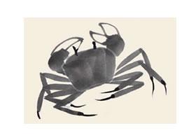 螃蟹儿童国画