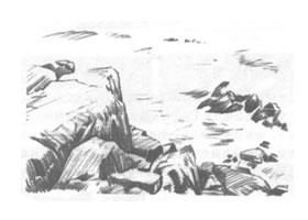 山石风景素描绘制方法