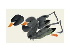 鸭子儿童国画