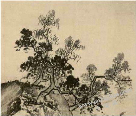 《溪山清远图》中树的画法