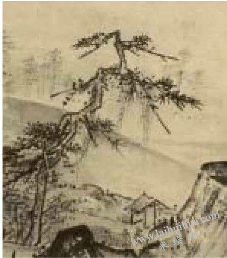《溪山清远图》左下院内大树线条凌乱不堪