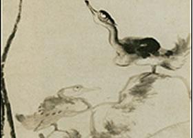 朱耷《荷花水鸟图》