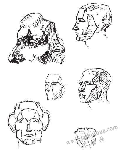 人像素描中的头部体块结构01