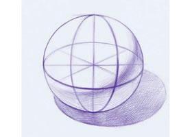 《石膏圆球体》素描