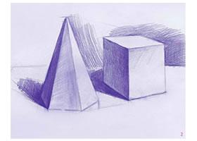 六棱锥体和正方体素描