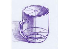 白瓷杯素描画法(一)