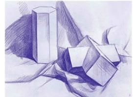 立方贯穿体和六棱柱素描