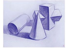 三个几何体组合素描