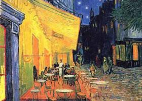 梵高《夜间咖啡馆》油画