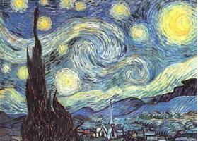 梵高《罗纳河上的星夜》油画